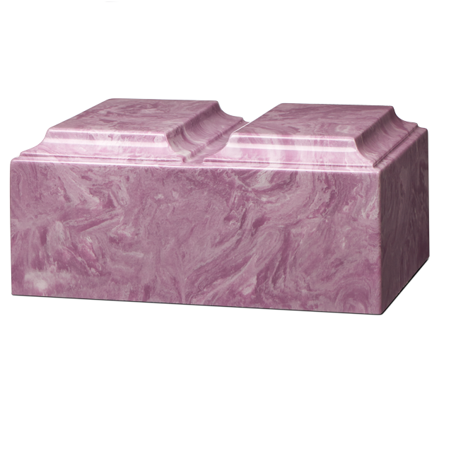 Companion cremation urn in purple, made from solid cultured marble. Dimensions 13.25? L x 9.5? W x 6.5? H, Capacity 450 cu. In. Weight 24 lbs.