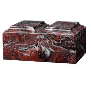 Companion cremation urn in fire rock, made from solid cultured marble. Dimensions 13.25? L x 9.5? W x 6.5? H, Capacity 450 cu. In. Weight 24 lbs.