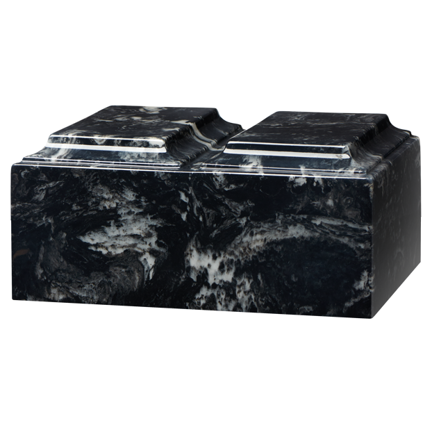 Companion cremation urn in black marlin, made from solid cultured marble. Dimensions 13.25? L x 9.5? W x 6.5? H, Capacity 450 cu. In. Weight 24 lbs.