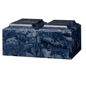 Companion cremation urn in blue, made from solid cultured marble. Dimensions 13.25? L x 9.5? W x 6.5? H, Capacity 450 cu. In. Weight 24 lbs.