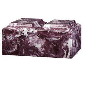 Companion cremation urn in merlot, made from solid cultured marble. Dimensions 13.25? L x 9.5? W x 6.5? H, Capacity 450 cu. In. Weight 24 lbs.