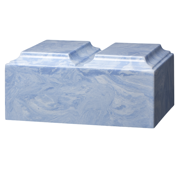 Companion cremation urn in wedgewood blue, made from solid cultured marble. Dimensions 13.25? L x 9.5? W x 6.5? H, Capacity 450 cu. In. Weight 24 lbs.