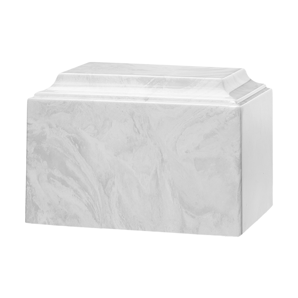 Cultured marble cremation urn in white carrera. Large Adult Size. Dim. 9.5? L x 6.5? W x 6.5? H, Capacity 225 Cubic Inches, Weight 12 lbs.