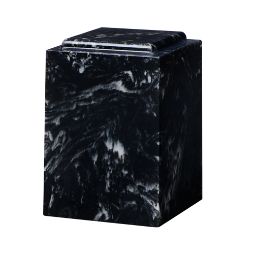 Tall marble cremation urn in black marlin made of solid cultured marble. Large size. Dimensions: 6.5? L x 6.5? W x 9.5? H, Capacity 225 cubic inches, weight 12 lbs
