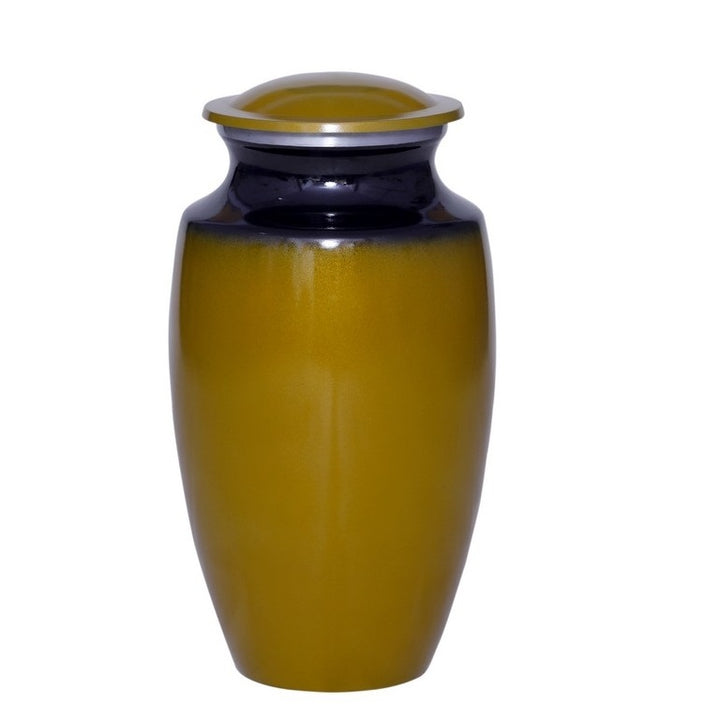 Cremation urn made of strong alloy metal in harvest gold. Large Size Dimensions: 10? H * 6 W? Capacity: 240 Cubic Inches.