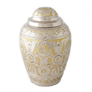 Decorative pewter and yellow cremation adult urn - All things funeral urn.