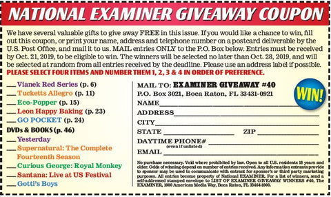 National Examiner giveaway fill in coupon