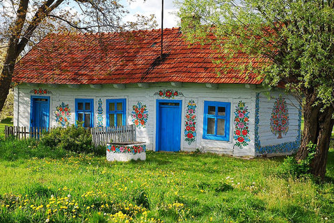 Zalipie Village painted house with floral motives