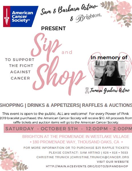 Sip and Shop fundraising event for cancer treatment