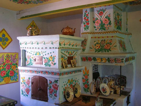 big indoor stove painted in flowery patterns