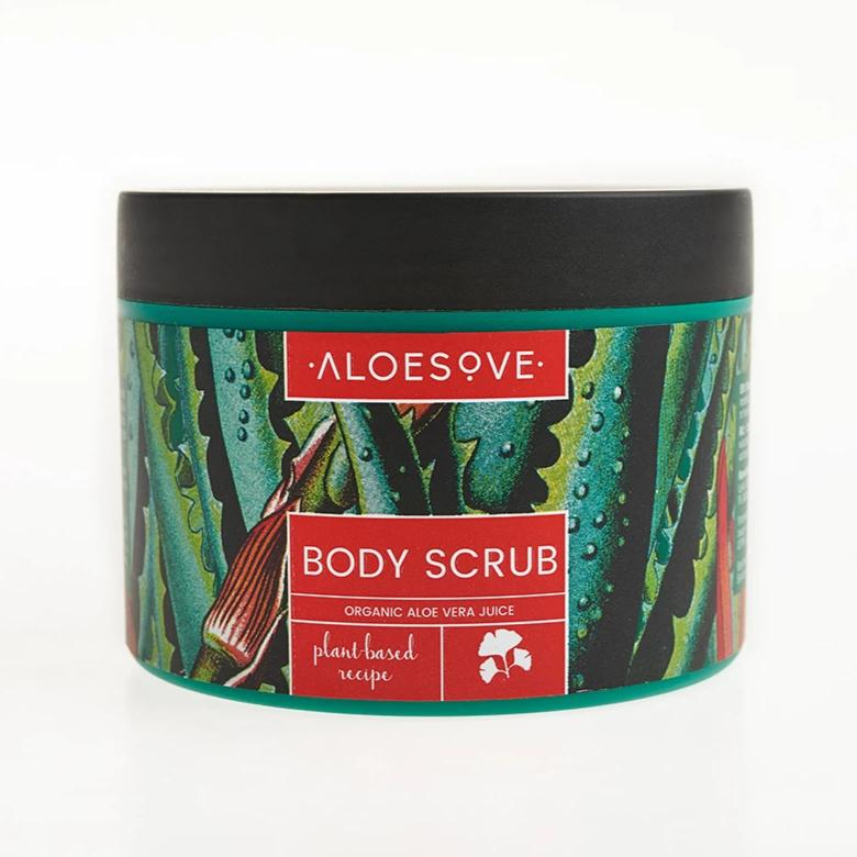 vegan body scrub with aloe vera, coffee, Himalaya salt