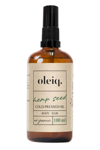 Hemp seed organic cold-pressed oil for Oily Skin.  Oleiq