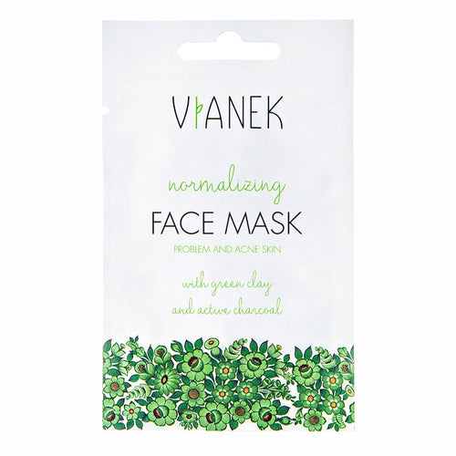 VIANEK Normalizing Face Mask for oily skin and acne with green clay and activated charcoal
