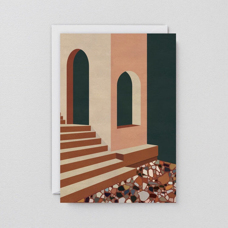WRAP | Art Greeting Card | Terracotta Terrazzo & Stairs