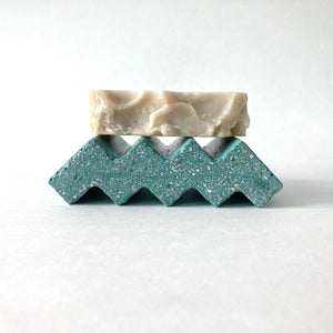 Grey Shed | Zig Zag Concrete Soap Tray | Teal