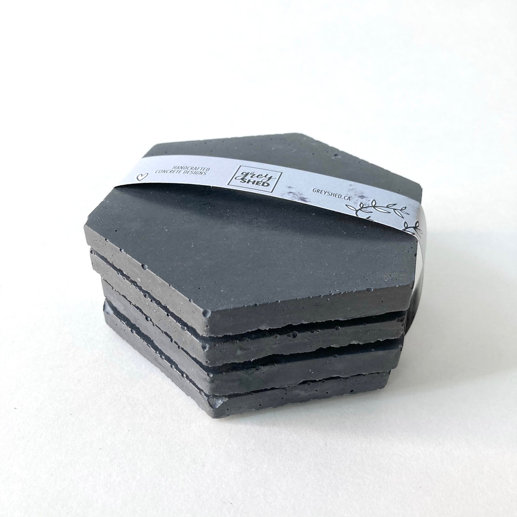 Grey Shed | Hex Concrete Coaster Set of 4 | Charcoal