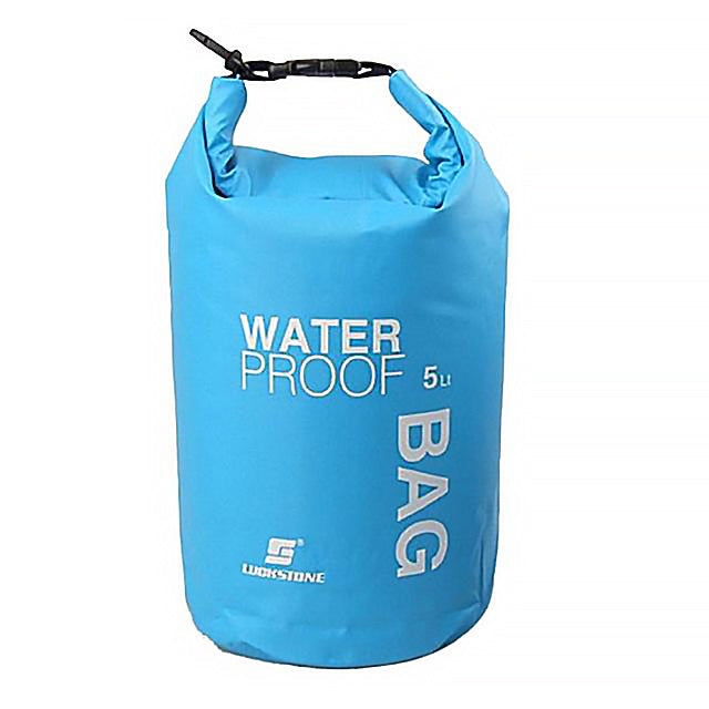 Portable blue water bag with clips for hanging.