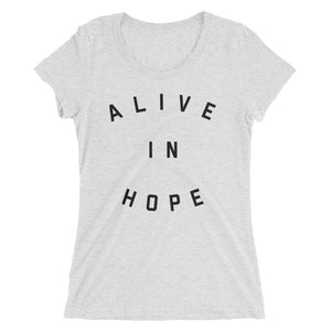 Alive In Hope Fitted Tee | White Heather + Black