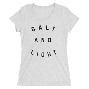 Salt & Light Fitted Tee | White Heather + Black