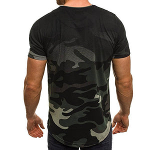 Mens Summer T shirts Fashion Personality Camouflage 3XL available - Large Bux