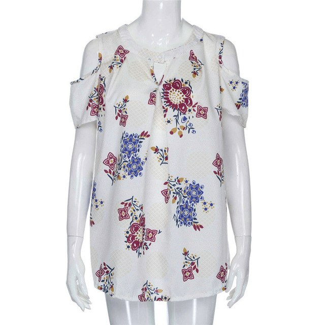 Womens V Neck Floral Print Off Shoulder Loose  Casual T Shirt Tops - Large Bux