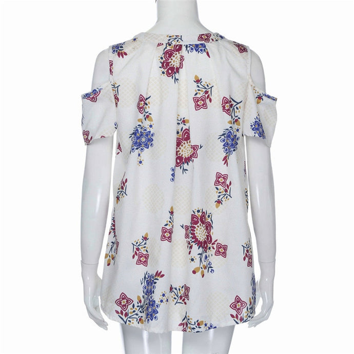 Free Shipping Womens V Neck Floral Print Off Shoulder Loose Shirt Ladies Casual T Shirt Tops 80521 Drop Shipping - Large Bux