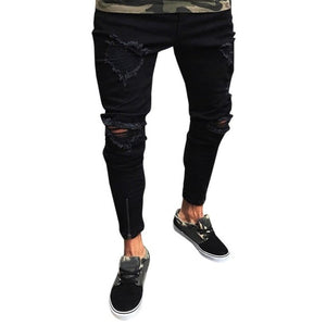 Men Slim Biker with leg Zipper Skinny Distressed Denim Jeans - Large Bux