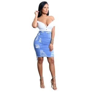 Fashion woman skirts High Waist Ripped Distressed Denim - Large Bux