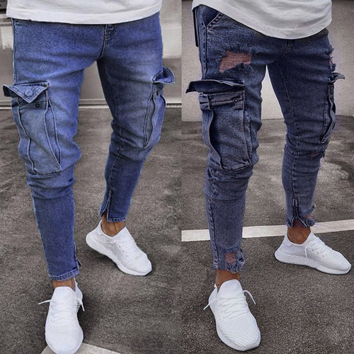 Men Skinny Stretch Denim Pants Distressed Ripped jeans - Large Bux