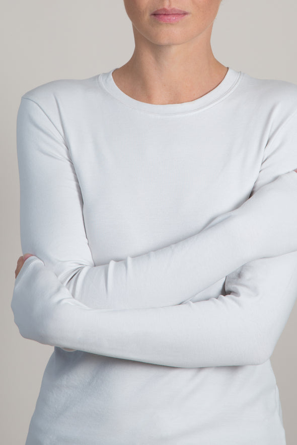 LONG SLEEVE CREW IN PIMA COTTON STRETCH