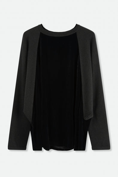 LAMBERTO LOSANI PULLOVER IN KNIT AND VELVET