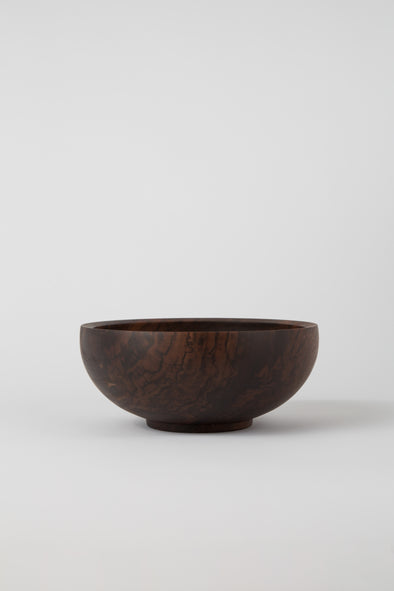 HAND CRAFTED BLACK WALNUT ROUND BOWL