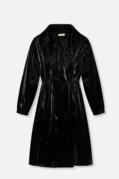 CINCHED WAIST LONG COLLAR COAT