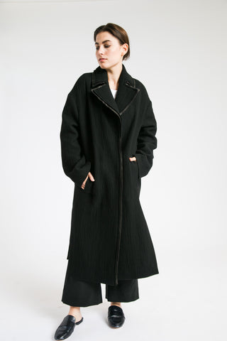 Long Coat with Leather Trim