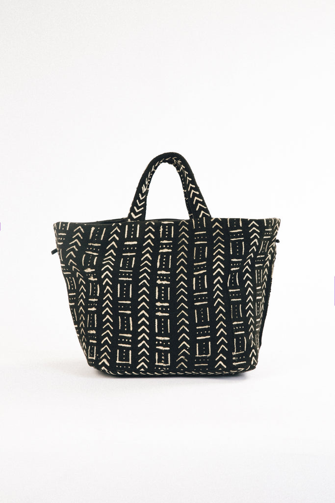 Reversible African Print & Leather Tote