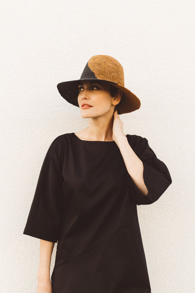 TWO TONE PANAMA HAT IN STRAW