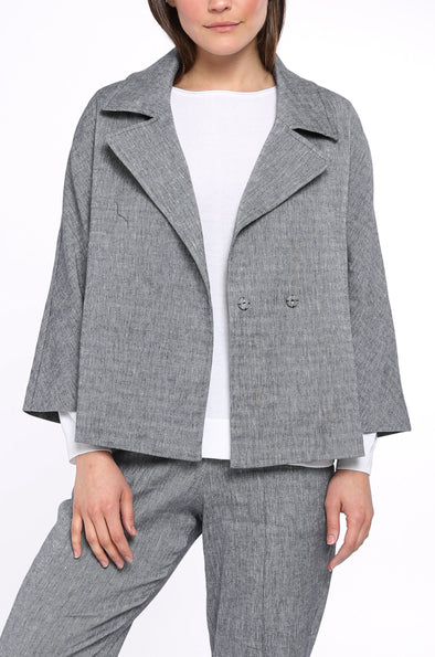 CROPPED JACKET IN LINEN-COTTON