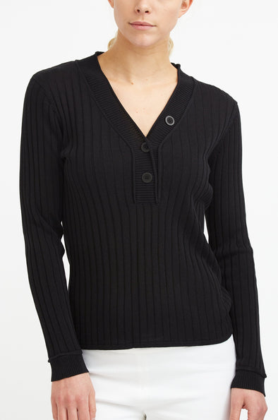 Ribbed V Neck Henley