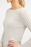 Wide Rib Boat Neck Sweater