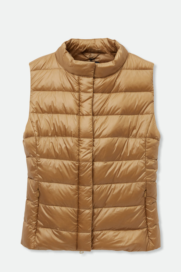 ZIP FRONT VEST IN GOOSE DOWN