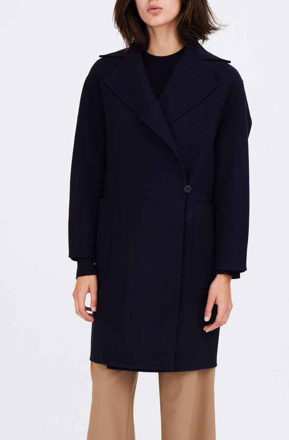 SIDE BUTTON COAT IN WOOL
