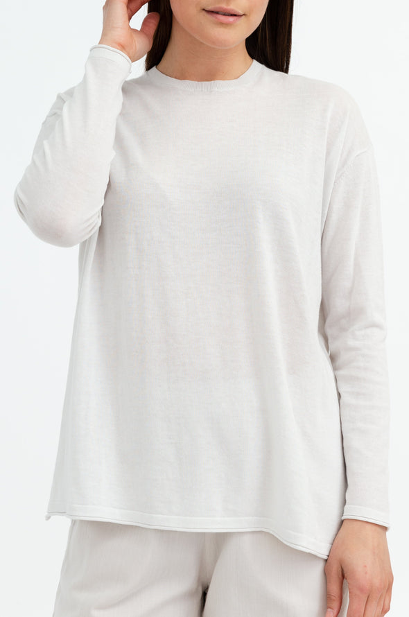 LONG SLEEVE PULLOVER IN KNITTED FINE COTTON