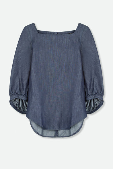 PUFFY DENIM SLEEVE TOP