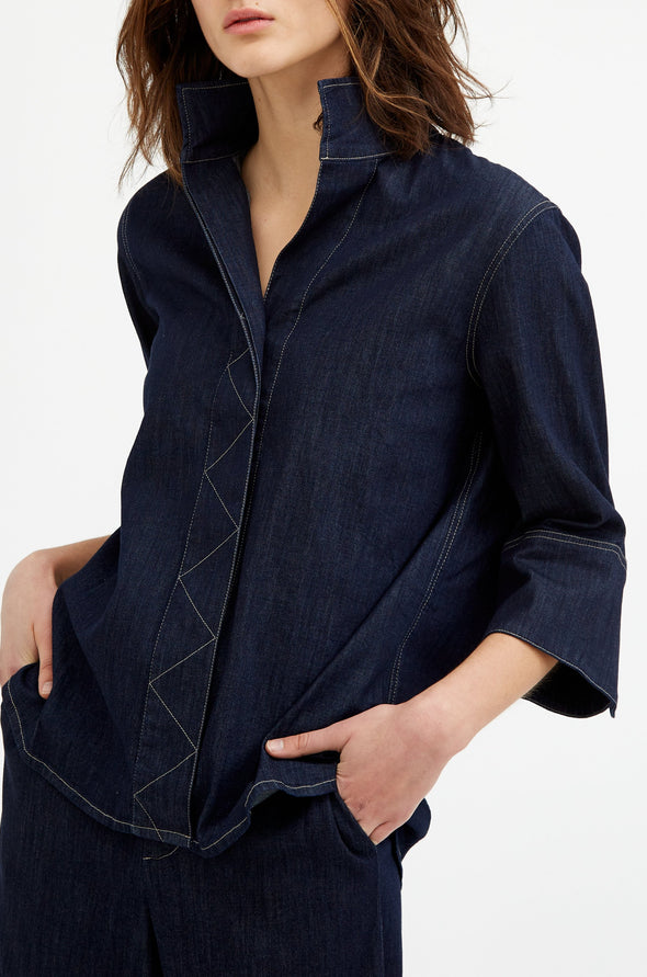 MANDARINA SHIRT IN LIGHTWEIGHT STRETCH DENIM