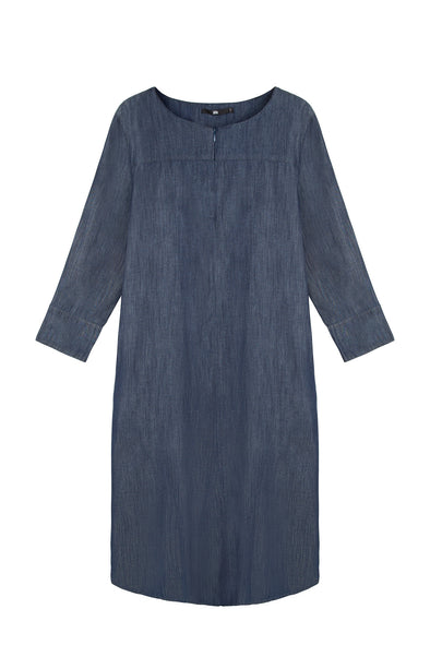 PLEAT BACK DENIM DRESS