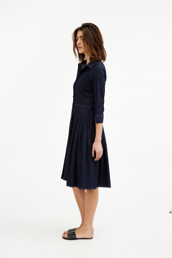 FAYE DRESS IN LIGHTWEIGHT STRETCH DENIM