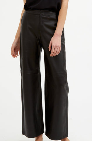 Wide Leg Leather Pant