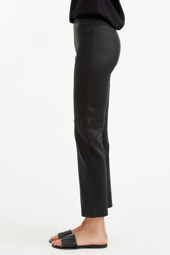 Ankle Straight Leg Leather Pant