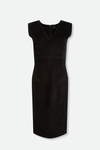 V-NECK DRESS IN SUEDE