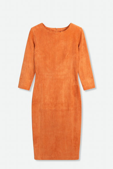 THREE-QUARTER SLEEVE DRESS IN STRETCH SUEDE